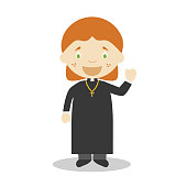 Cute cartoon vector illustration of a priest. Women Professions Series