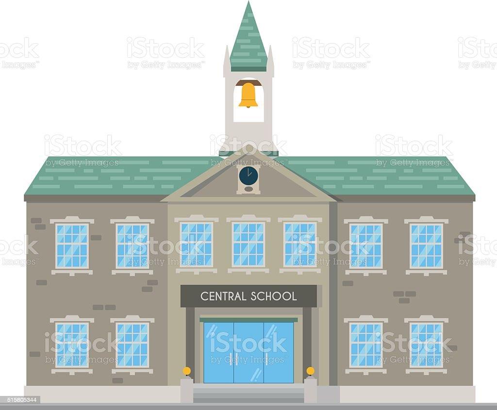 Cute cartoon vector illustration of a school vector art illustration