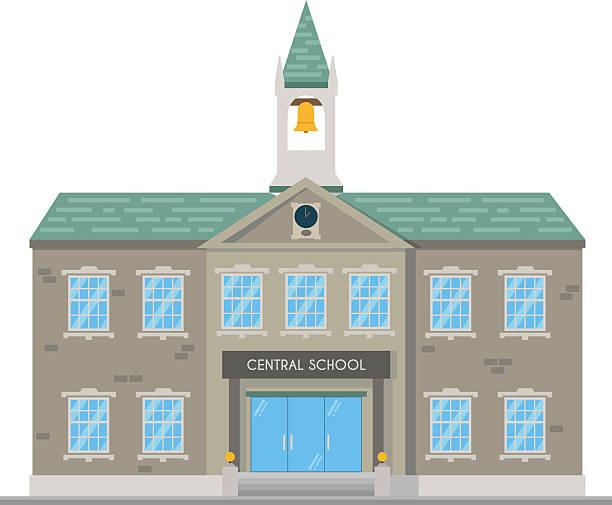 niedlich comic vektor-illustration einer schule - gymnasium stock-grafiken, -clipart, -cartoons und -symbole