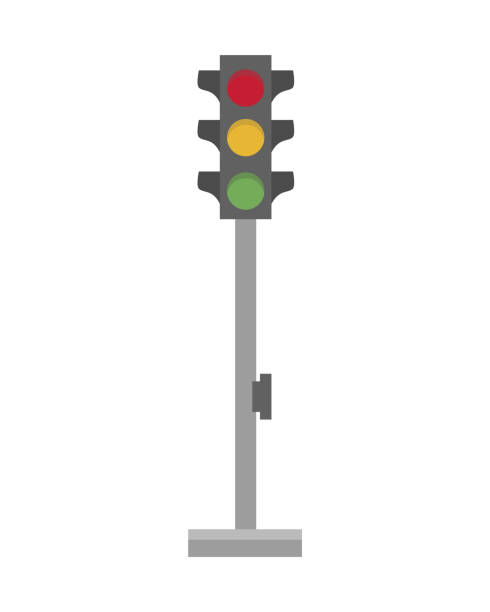 cute cartoon vector illustration of a traffic light - stoplights stock illustrations, clip art, cartoons, & icons