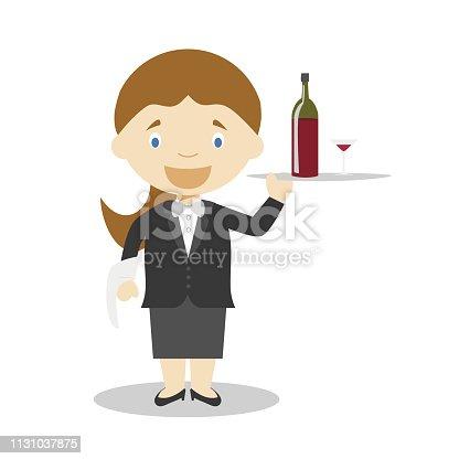Cute cartoon vector illustration of a waitress. Women Professions Series