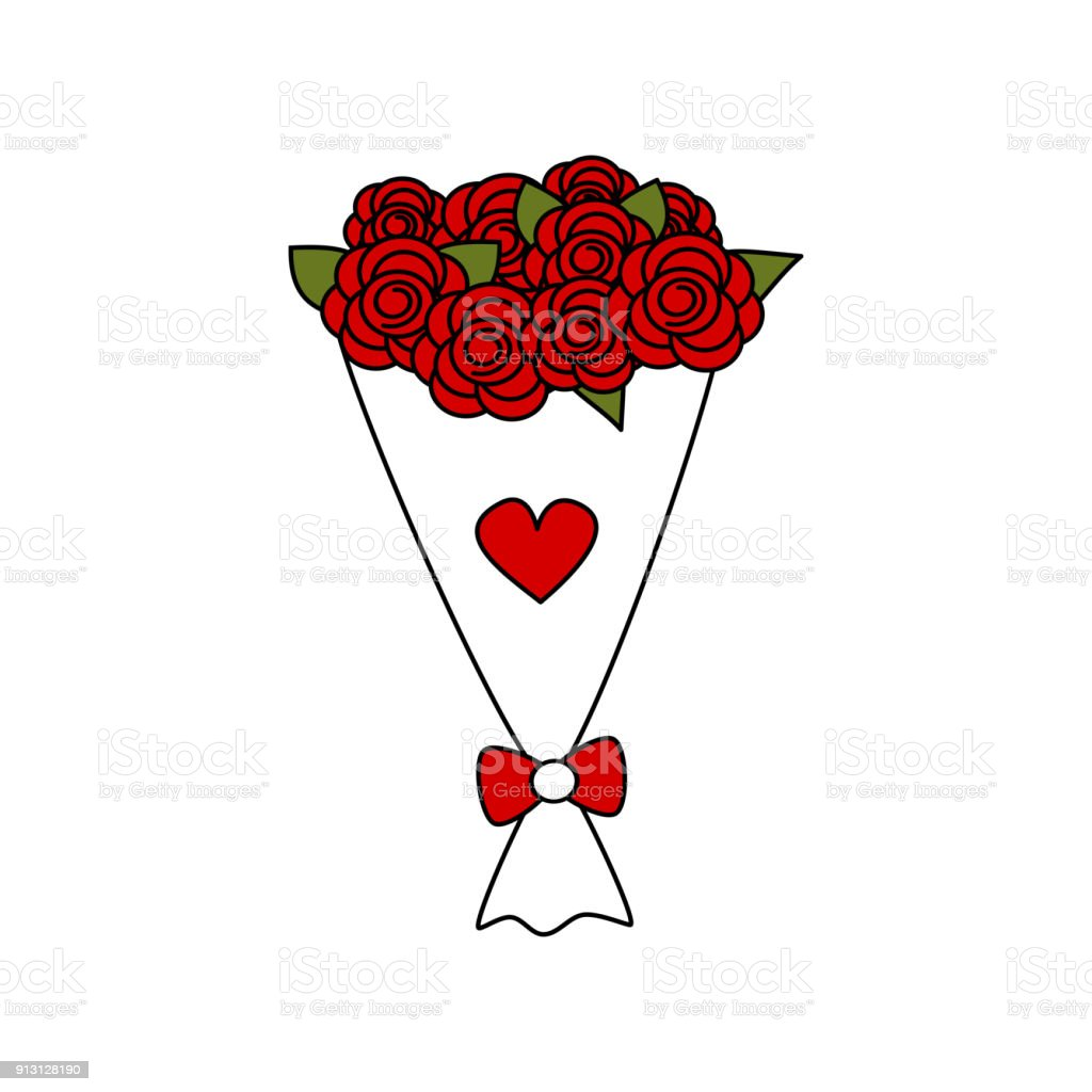 Cute Cartoon Vector Lovely Red Roses Bouquet Stock Vector Art & More ...