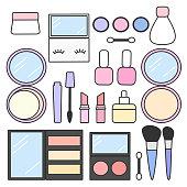 cute cartoon vector makeup beauty set collection