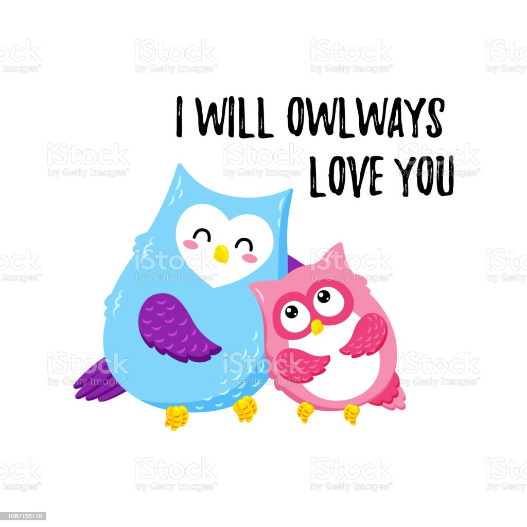 Cute Cartoon Vector Owls Template For Printing Valentines Day Stock