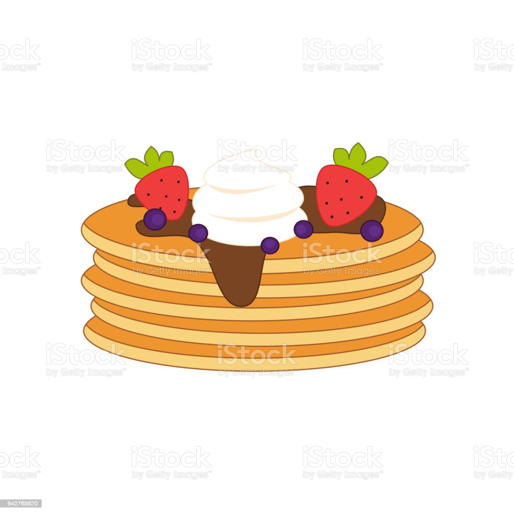 Cute Cartoon Vector Pancakes With Fruits Chocolate And Whipped Cream Stock Illustration Download Image Now Istock