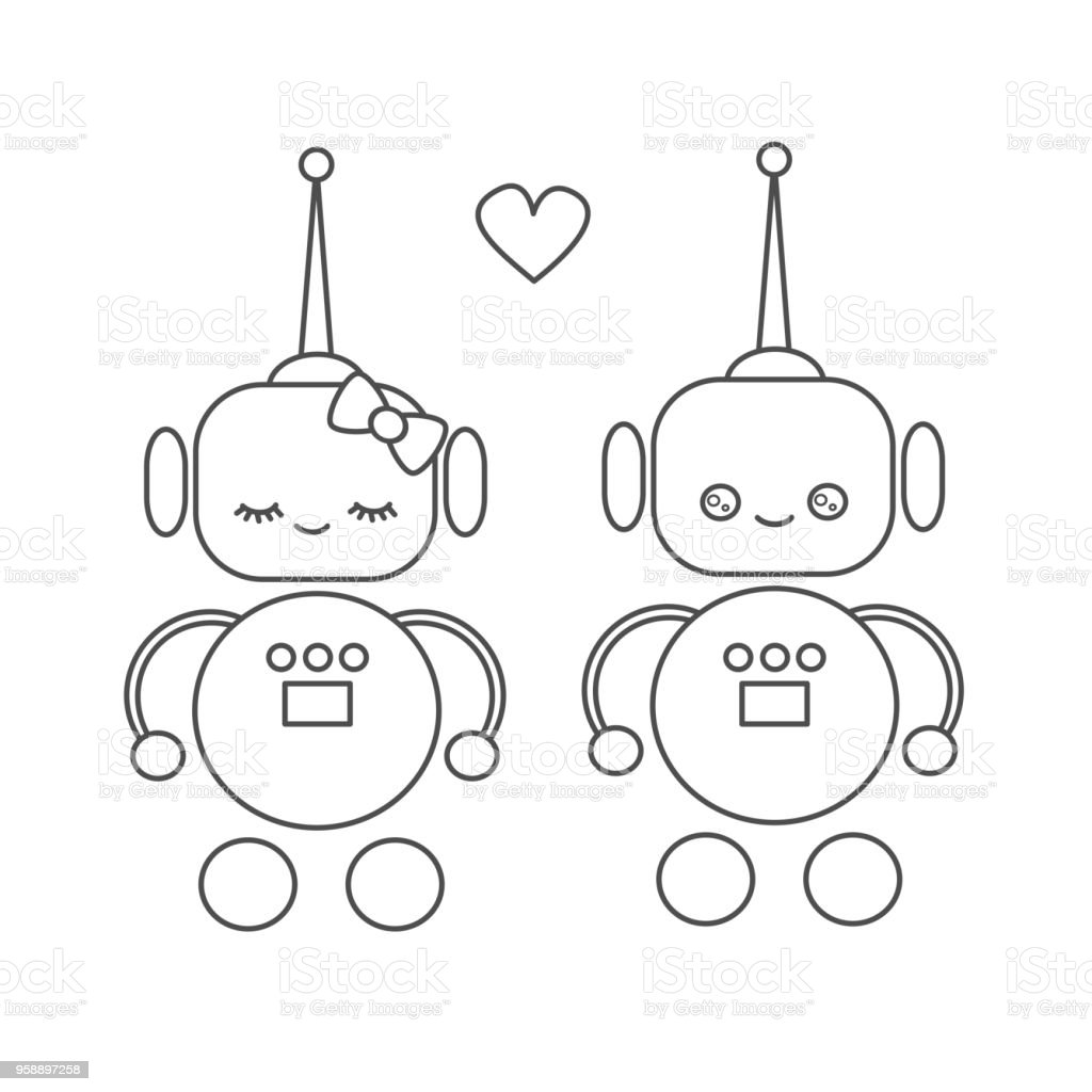 Ilustracion De Amor De Robots De Dibujos Animados Vector De