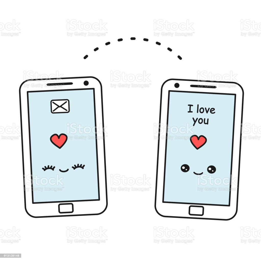 Ilustración De Cute Dibujos Animados Vector Smartphone Enviando Amor