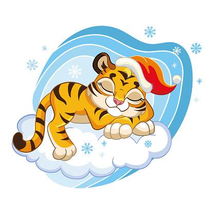 Cute cartoon vector tiger sleeping on a cloud