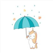 cute cartoon vector unicorn with umbrella