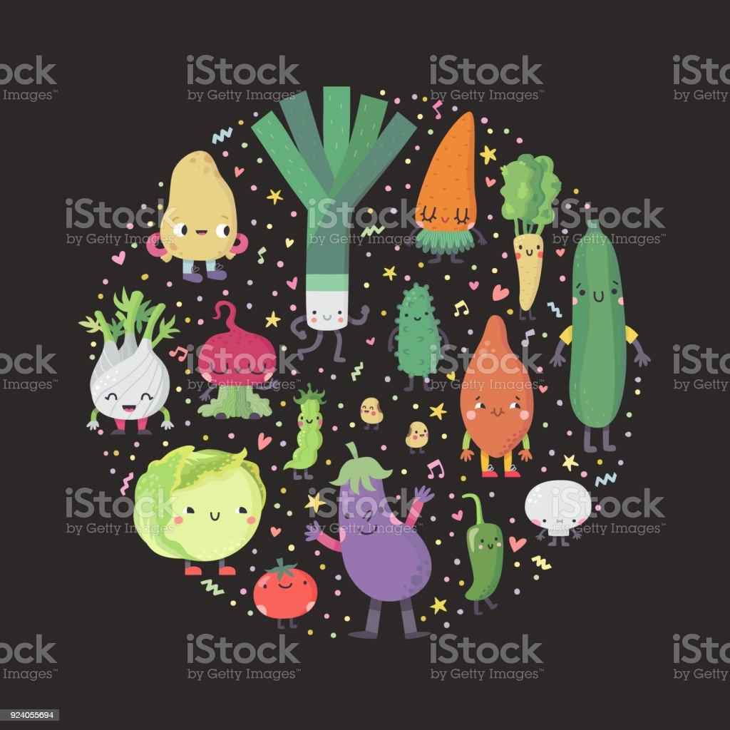 Cute cartoon vegetables circle illustration. Part two. vector art illustration