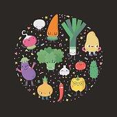 Cute cartoon vegetables circle illustration.