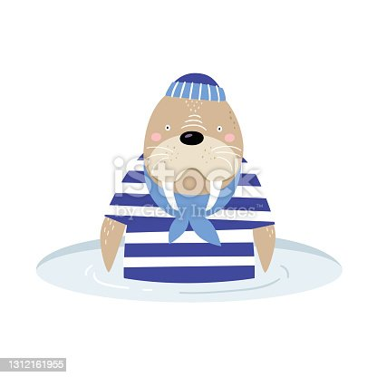 istock Cute cartoon walrus-sailor on a white isolated background. A fabulous funny animal with an ice hole. 1312161955