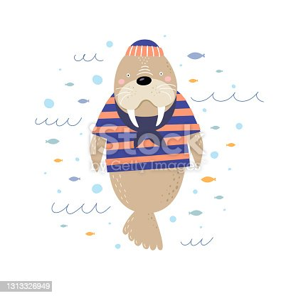 istock Cute cartoon walrus-sailor on a white isolated background. A fabulous funny animal with an ice hole. 1313326949