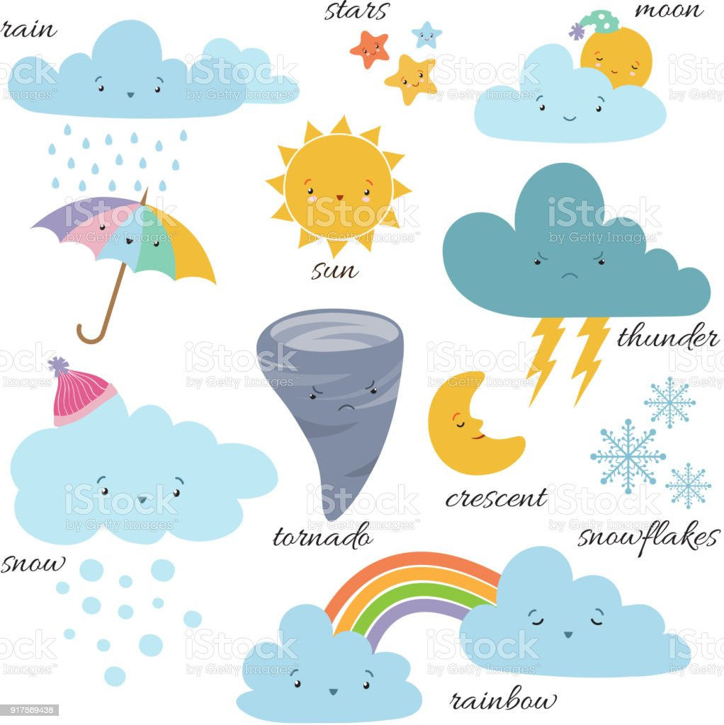 Cute Cartoon Weather Icons Forecast Meteorology Vector Vocabulary