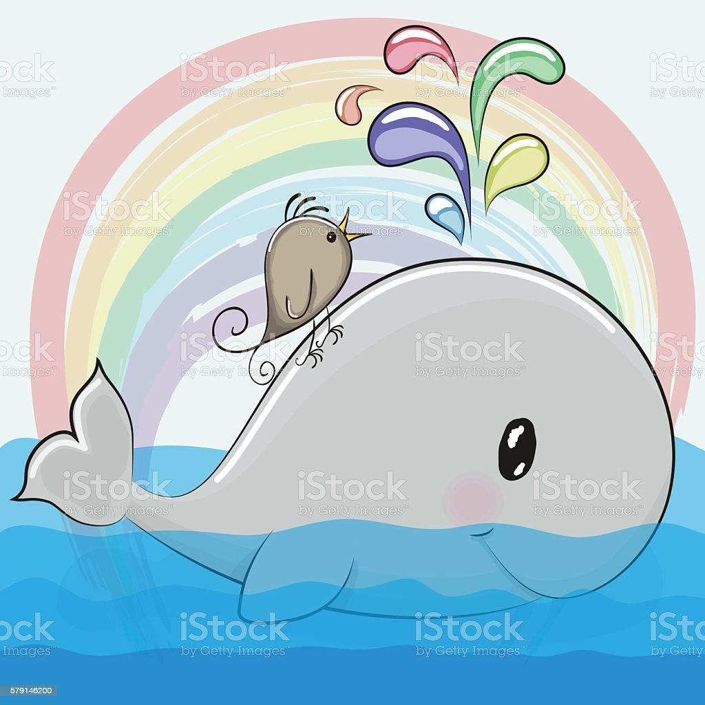 cute cartoon whale and a bird royalty free stock vector art