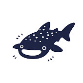 Cute cartoon whale shark drawing. Funny character black and white vector illustration.