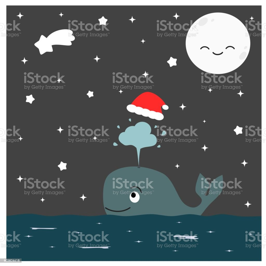 cute cartoon whale with christmas red hat in the starry night vector illustration vector art illustration