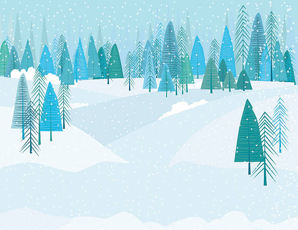 cute cartoon winter forest in a snowstrom - winter stock illustrations, clip art, cartoons, & icons