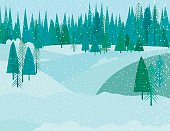 Cute Cartoon Winter Forest In A Snowstorm. There are snowy hills in the background.