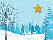 Cute Cartoon Winter Landscape In The Snow. Trees and snowy hills with gold glitter ornament