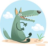 Cute cartoon wolf character. Isolated. White background. Flat design Vector illustration