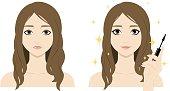 Cute cartoon woman with mascara