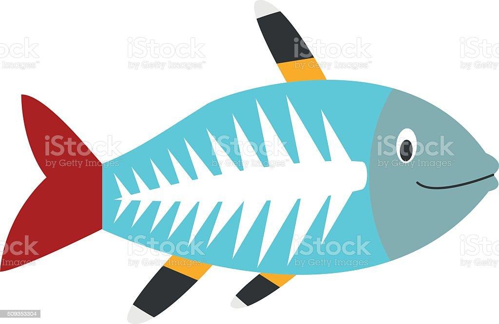 Cute cartoon x-ray fish vector illustration vector art illustration