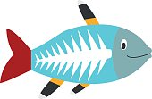 Cute cartoon x-ray fish vector illustration