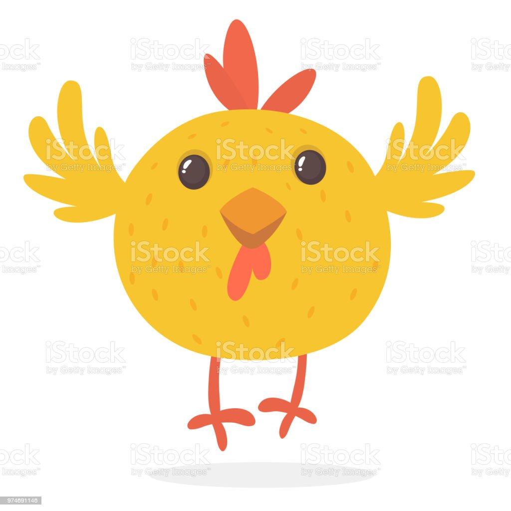 かわいい漫画点滅目の黄色のチキン農場の動物かわいい鶏のベクター