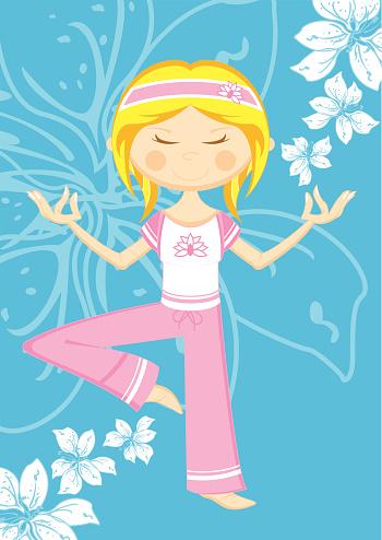 Cute Cartoon Yoga Girl & Flowers