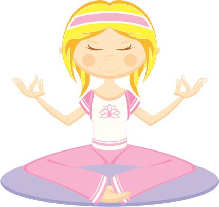 Cute Cartoon Yoga Girl on Mat