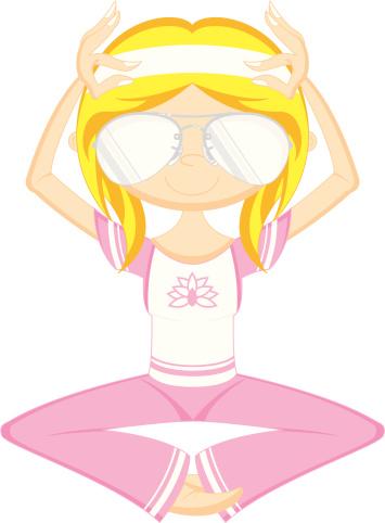 Cute Cartoon Yoga Girl