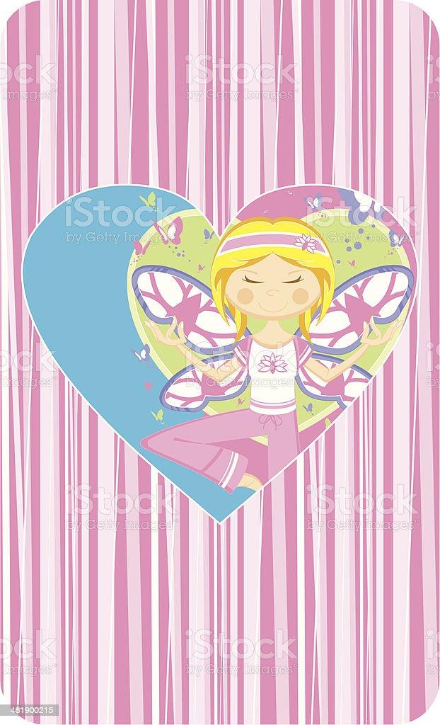 Cute Cartoon Yoga Girl royalty-free stock vector art