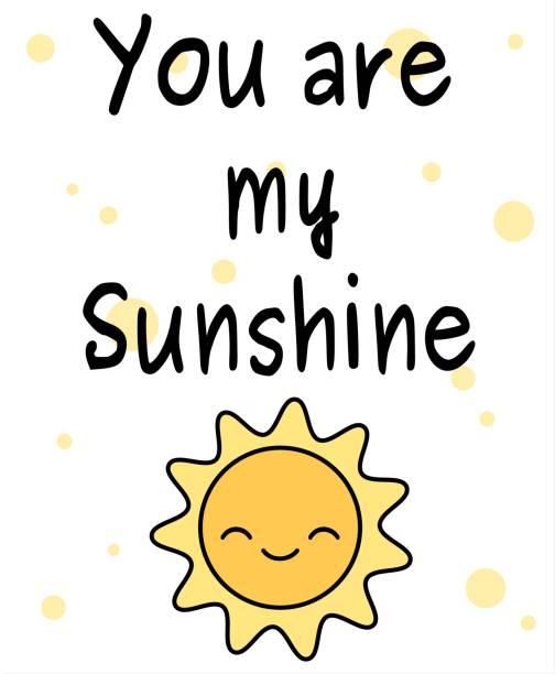 dessin animé mignon, tu es mon rayon de soleil citation vector illustration carte avec soleil heureux - Illustration vectorielle