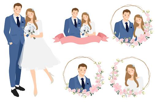 cute cartoon young wedding couple wreath logo in cherry blossom wreath eps10 vectors illustation