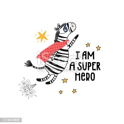 Zebra flying among the stars and the inscription - I am a super hero. Illustration for greeting card or kids room design in vector.