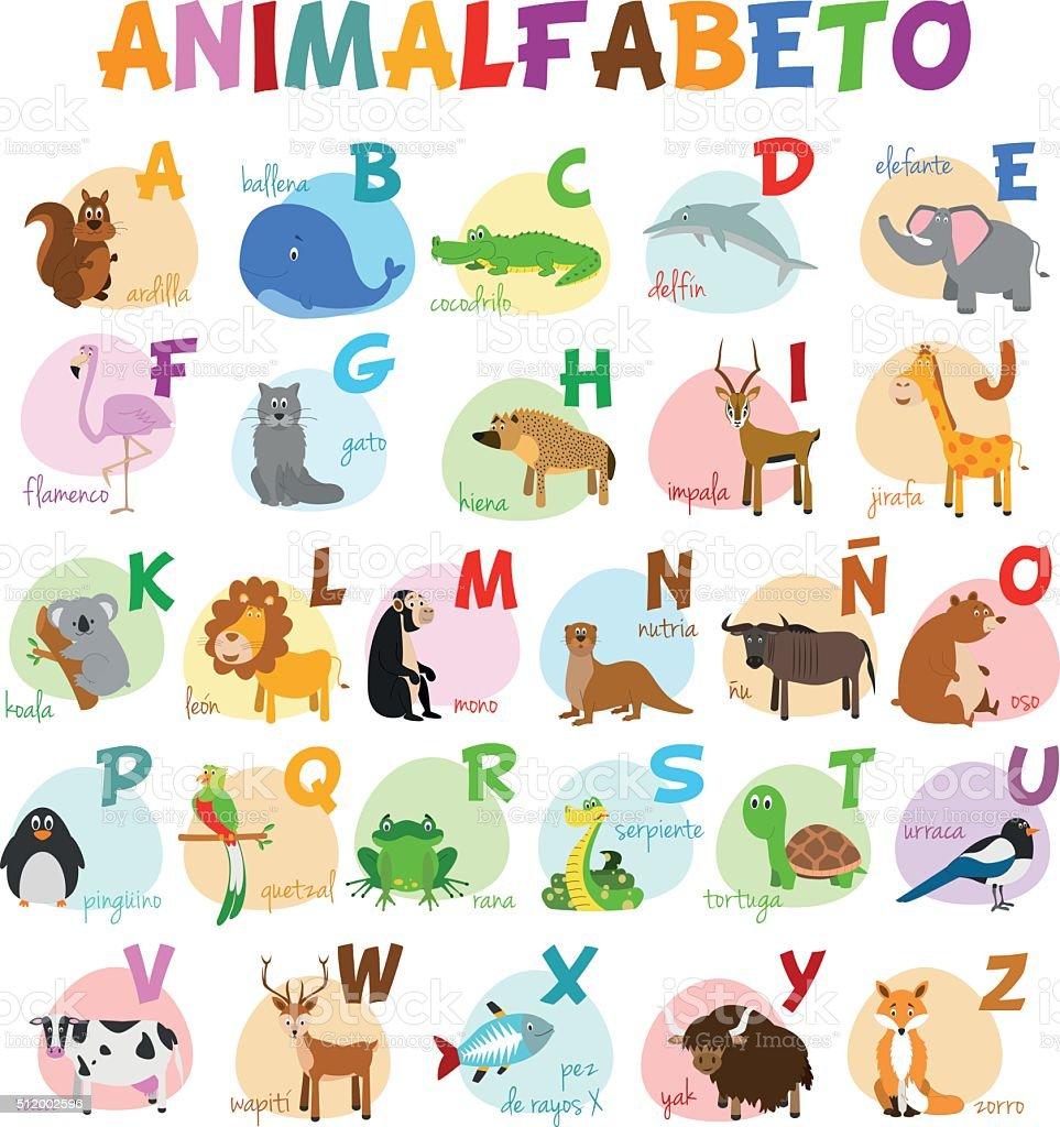 Ilustra O De Zool Gico Ilustrado Alfabeto Bonito Dos Desenhos  -> Desenhos Para Alfabeto Ilustrado