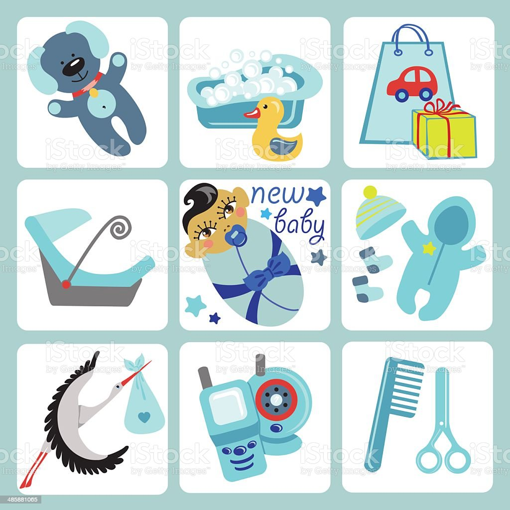 Cute cartoons icons for Asian baby boy.Newborn set vector art illustration
