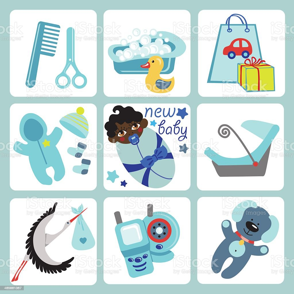 Cute cartoons icons for mulatto baby boy.Newborn set vector art illustration