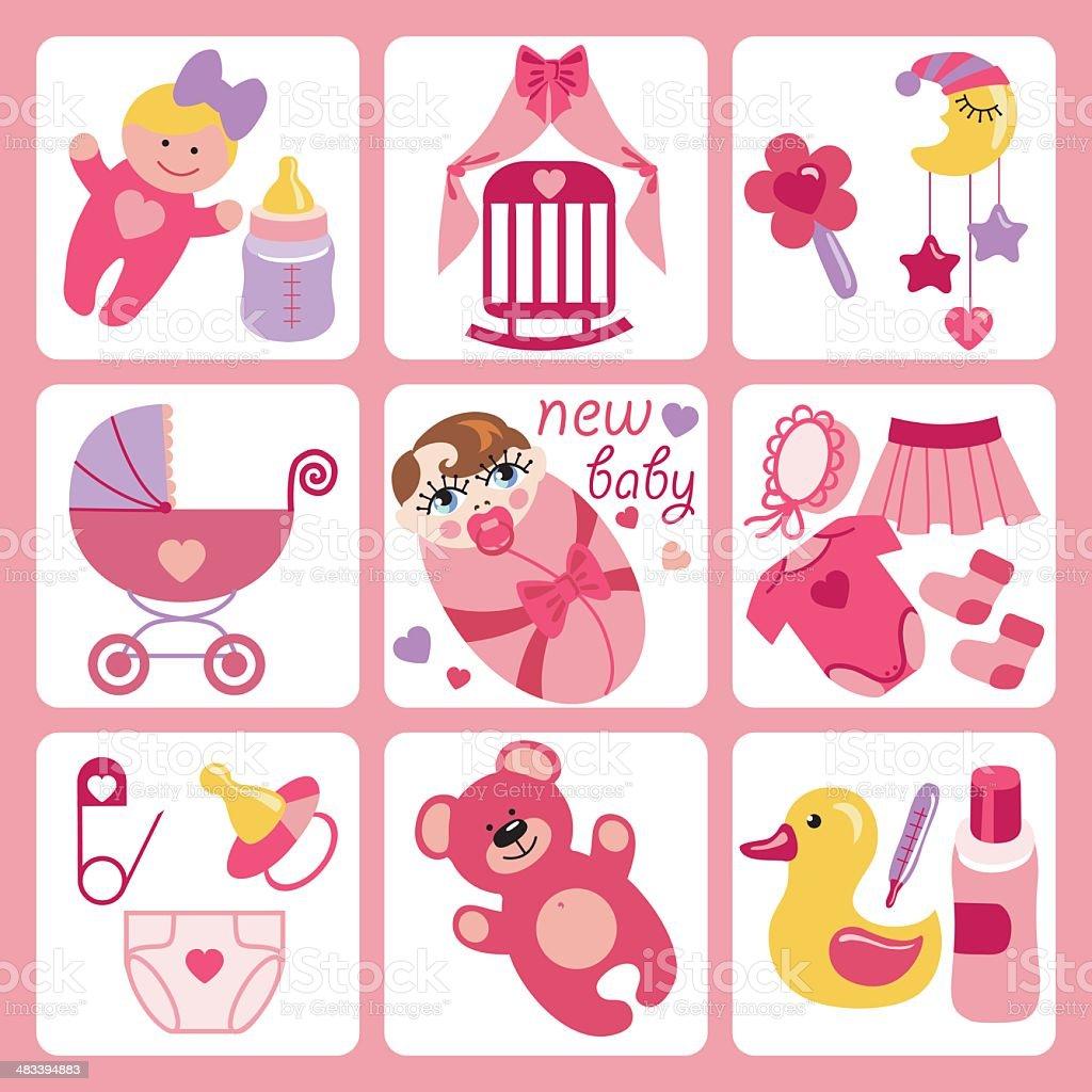 Ilustración De Adorables Dibujos Animados Iconos De Bebé Niña Bebé