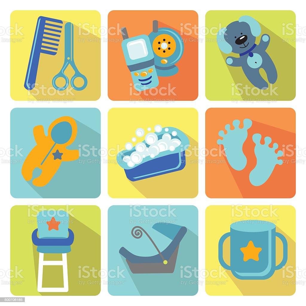 Cute cartoons icons for newborn baby boy vector art illustration