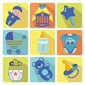 A set of cute cartoon elements for newborn baby boy.Nine colored baby cartoon icons with long shadow.Use for web or mobale phone.Vector illustration