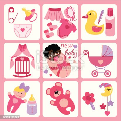 A set of cute cartoon elements for mulatto newborn baby girl. Baby cartoon icons,scrapbooking elements in Strips background.Vector illustration