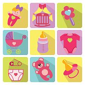 A set of cute cartoon elements for newborn baby girl.Nine colored baby cartoon icons with long shadow.Use for web or mobale phone.Vector illustration