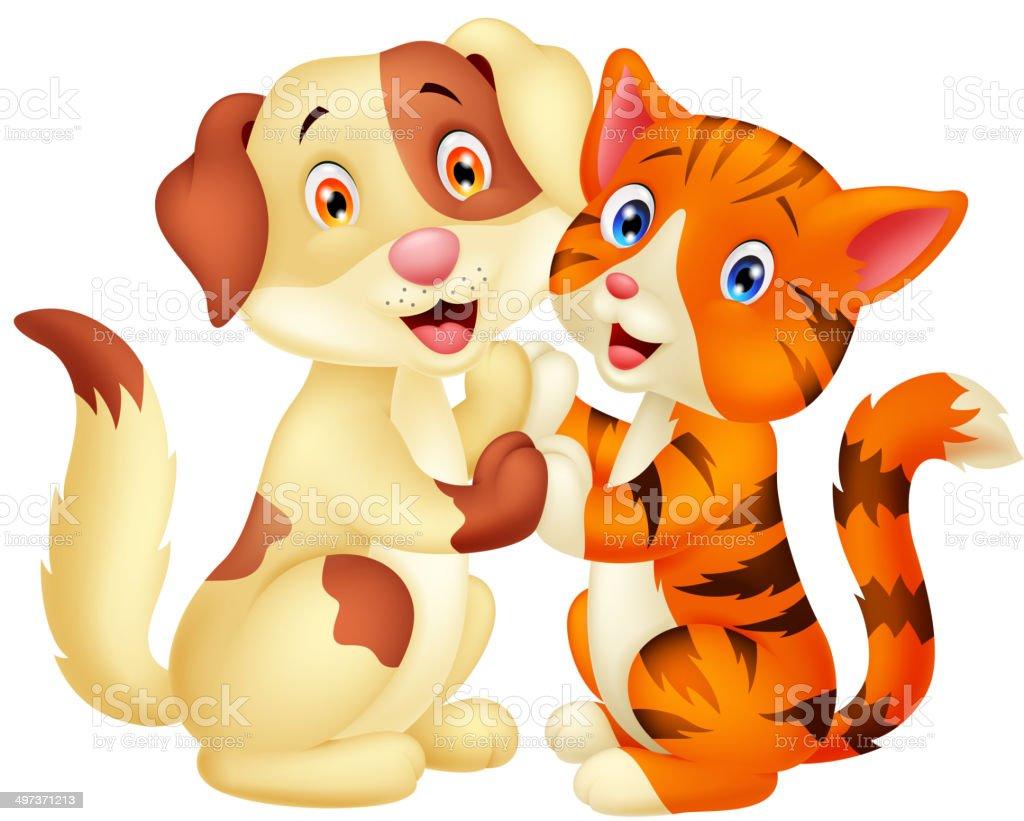 Vetores De Gato Bonito Dos Desenhos Animados E Cachorro E Mais