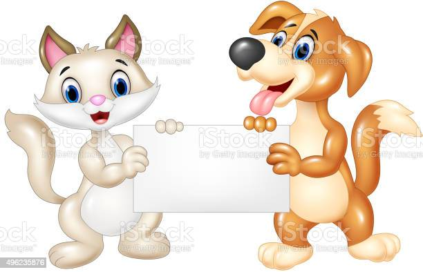 Cute cat and dog holding blank sign vector id496235876?b=1&k=6&m=496235876&s=612x612&h=  wag5ze1mn6ohbjsiqjpmsyzh36gt3meade wy2fvy=
