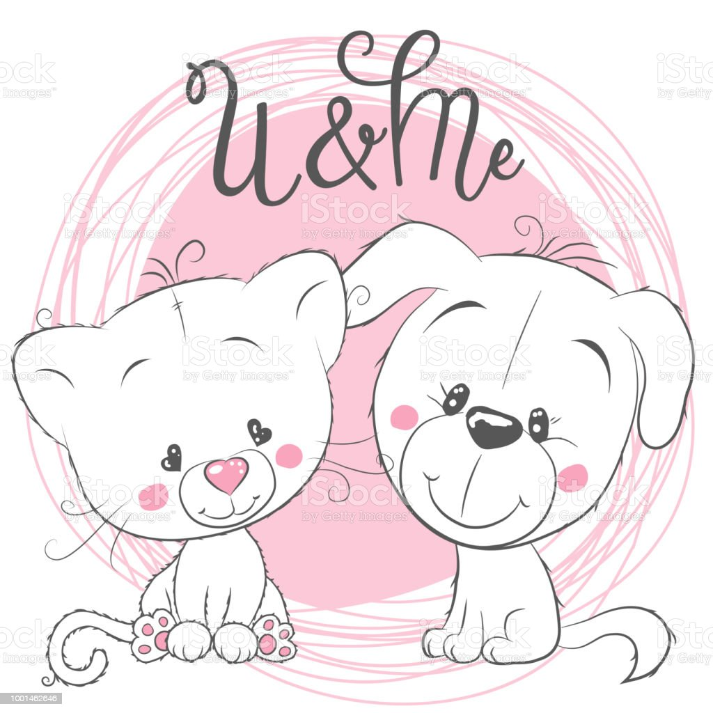Cute cat and dog on a pink background royalty free cute cat and dog on