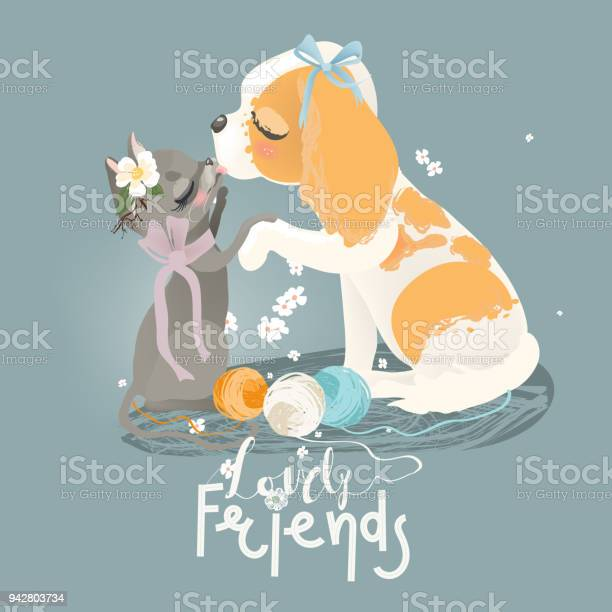 Cute cat and dog with flowers floral wreath bouquet tied bow and yarn vector id942803734?b=1&k=6&m=942803734&s=612x612&h=ef3zgyzy5p4f8wty9jtmegc14kn8mnxmlnoz7ghedtm=