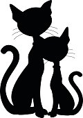 Silhouette of a cat and kitten. Single shape and minimal nodes. Ready for signmaking, engraving or diecutting.