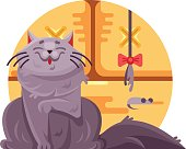 Cute cat and little mouse. Domestic pet sit on floor. Vector illustration